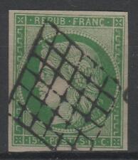 """France Yvert Scott 2 """" Ceres 15c Green 1850 """" Used Vvf Signed P187"""