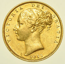 More details for rare 1853 victoria shield back sovereign, 5 over 5, british gold coin unrecorded
