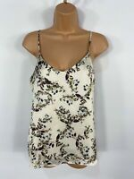 WOMENS NEW LOOK CREAM & PURPLE FLORAL STRAPPY SUMMER SATIN CAMI VEST TOP UK 10
