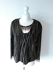 Joseph Ribkoff Woman Black & Gold Beaded Stretchy Tops Size 14 Uk Immaculate