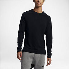 Nike Tech Knit Crew Neck Sweater Sweatshirt Pullover Black Size M 832182 010