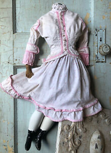 Mid 1800s calico pink trim doll dress for large China Bisque Paper Mache Parian