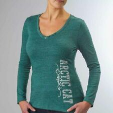 Arctic Cat Women's Arctic Cat Button V-Neck Long-Sleeve T-Shirt - Teal 5253-76_