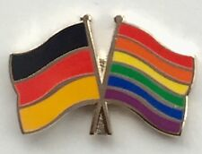 Germany & Gay Rights Rainbow Friendship Flags Gold Plated Enamel Lapel Pin Badge