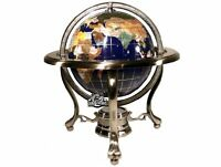 10 Inch Tall Table Top Blue Lapis Ocean Gemstone World Globe Tripod Stand