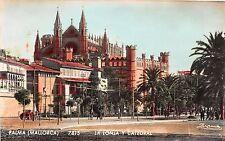 Spain real photo postcard Palma Mallorca, La Lonja y Catedral