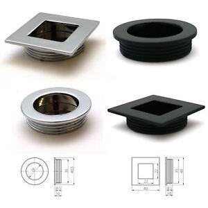 Recessed Flush Sliding Door Handle Pull  Square Circle 40 x 35 x 10mm Chrome