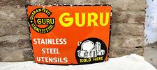 Vintage Rare Enamel Sign Board Guru Stainless Steel Utensils Collectable Sign