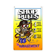Shop Rules Funny Auto Body Automotive Humor Car Repair Tin Metal Sign 12x18