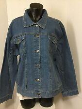 Sunburst  Womens Size XL Stretch Blue Denim Button Front Jean Jacket NWOT