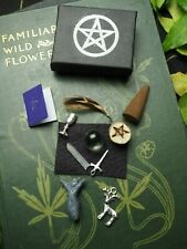 Pocket Wiccan Altar Set - chalice, athame, wand, pentagram, goddess, god, BOS