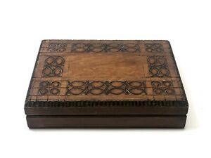 Vintage Wooden Box Jewelry Storage Chest Hand Carved Art Trinket Organizer Lid