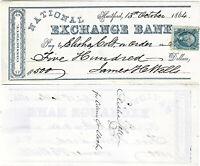 CIVIL WAR 1864 Colt Arms Co., CT Financier Elisha Colt Signed Check for Stock