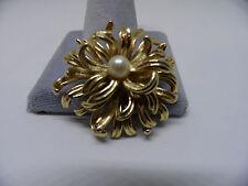 Boucher Garden - Vintage Boucher #8374 Chrysanthemum Pin/ Brooch w/ Pearl