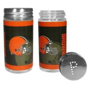Cleveland Browns Glass Salt and Pepper Shakers [NEW] NFL Tailgate Kitchen Cook