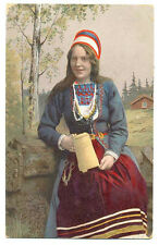 Russian Imperial Finnish Ethnic Costume with Tankard PC 1913 Posted from Vyborg