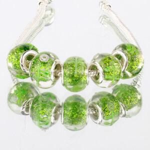 5 x Green Glitter Pink Rose Flower Glass Bracelet Spacer Threader Charm Beads.