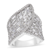 3.00 tcw. Simulated Diamond Cocktail Ring in Silvertone Size 6.0