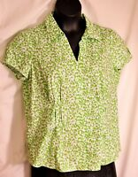 women's St. John's Bay button front top cap sleeves size large  green& white