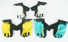 3 NEW Pair Womens Mavic Half Finger Cycling Gloves Medium White Turquoise Yellow