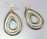 MIXED METALS Dangle Earrings BRONZE GOLD GUNMETAL TONE Triple Tear Drop NICE!