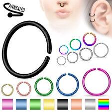 C Shaped Septum Nose Ring Annealed Titanium Hoop Tragus Cartilage 14,16,18, 20G