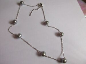 NEW-Honora Silver Cultured Pearl 8.0mm Stainless Steel Station Necklace