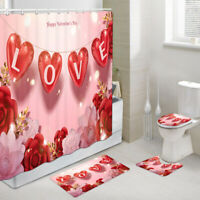 Valentine's Day Balloon Shower Curtain Toilet Cover Rug Bath Mat Contour Rug Set