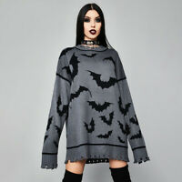 Gothic Bat Print Punk Womens Gray Long Loose Sweater Casual Pullover Knit Tops