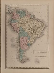 1854 SOUTH AMERICA LARGE HAND COLOURED ANTIQUE MAP 165 YEARS OLD BY SIDNEY HALL