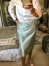 Press & Bastyan, Silk Mix Pencil Skirt, Beaded Waistline, Light Blue, 12, RARE