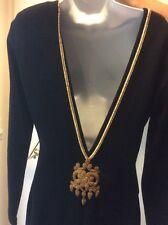 Andrea Jovine Backless Black Wiggle Dress Gold Ribbon  Size L  Stretch Jersey
