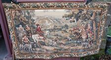 """Hunting with Hounds Horses Wall Hanging Tapestry Halluin Flandres 78""""x 45"""""""