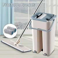 Floor Mop and Bucket Set 360° Flat Microfiber Mop Heads Dry Cleaner Cleaning UK