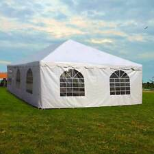 20x30' Commercial Pole Tent Party Wedding Canopy With 2 Solid 2 Window Sidewalls