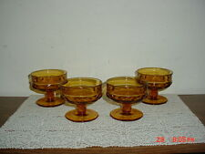 """4-PIECE INDIANA GLASS """"KINGS CROWN"""" AMBER SHERBERT-SERVING GLASSES/CLEARANCE!"""
