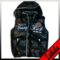 Vest Jacket Young&rich Quilted Shine-Wet-Lacquer Look Black Men New