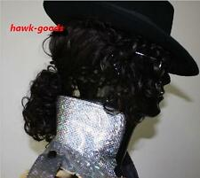 Halloween Michael Jackson Billie Jean BAD Wig & hat & Glove Costume Accessory