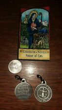 St.Francis Pet Cat Medal /Tag Patron of Animal Pewter