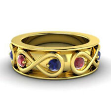0.80 Ct Natural Sapphire Ruby Wedding Band 14K Solid Yellow Gold Ring Size M N
