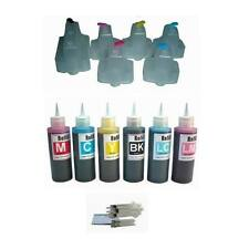 6 Packs Prefilled Refillable ink cartridges for HP 02  Plus 6x100ml ink bottles