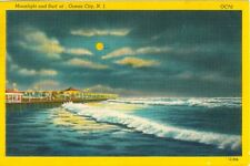 Ocean City, NJ Surf and Shore under the Moonlight 1952