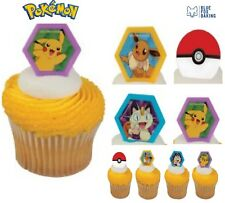 Pokemon Cupcake Rings - 24 Party Favors Birthday Supplies Cake Toppers