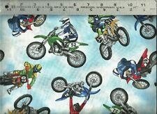 Timeless Treasures ~ Motocross Dirt Bikes Riders ~ 100% Cotton Quilt Fabric Bty