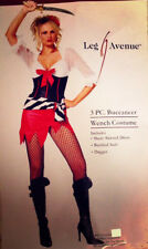Pirate Buccaneer Wench Costume Sexy 3 Pc Blk / Red/ Wht. Dress Sash & Dagger M/L