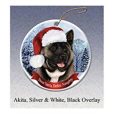 Akita Black and Silver Howliday Porcelain China Dog Christmas Ornament