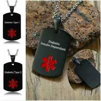 Diabetic Type 1 2 Medical Alert Necklace Stainless Steel Chain Dog Tag Insulin
