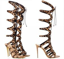 Womens Gladiators Knee High Boots High Heel Lace Up Sandals Slingbacks Shoes Hot