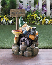 """Large ON STRIKE GNOME WATER FOUNTAIN Sculpture Garden Home Patio Decor New 25""""H"""