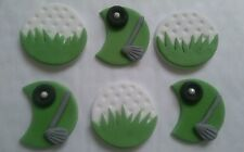 x 6 Golf mix sugar cake, cupcake topper decorations